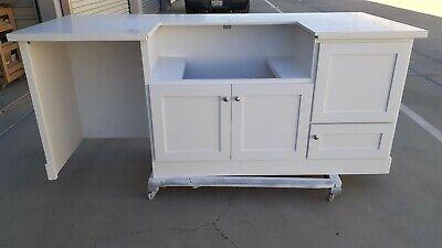 7ft white kitchen island with sink cutout dishwasher white quartz counter top ebay