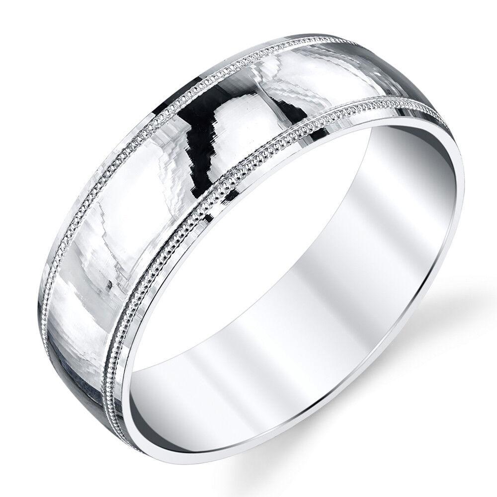 925 Sterling Silver Mens Wedding Band Ring Milgrain Comfort Fit Classic Plain  eBay