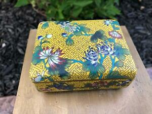 Chinese Cloisonne Enamel Box on Yellow Ground Very Fine Floral Antique Bronze