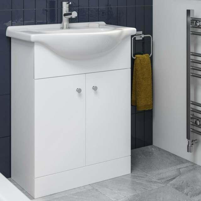 alpine fnfp650vmw 650mm sink vanity unit matte white