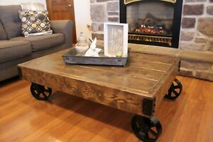 details about coffee table with iron caster wheels rustic cart vintage design wood