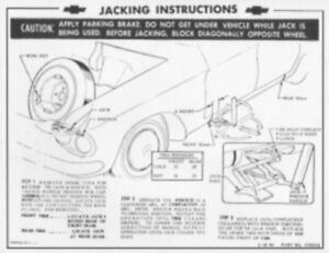 CHEVROLET 1961-62 Corvair Wagon Jack Instructions & Tire