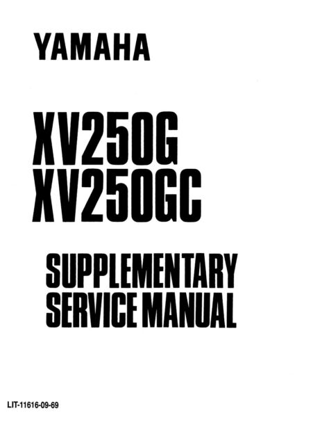 Yamaha XV250G XV250GC Virago B-grade Supplement Service