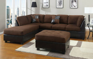 microfiber sofas white and black sectional sofa chocolate couch 3 pc set sectionals ebay image is loading