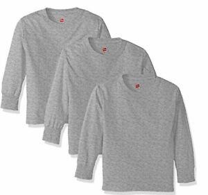 Hanes Big Boys' Tagless Long Sleeve Tee. Pack Of 3. Light Steel. Youth Small | eBay