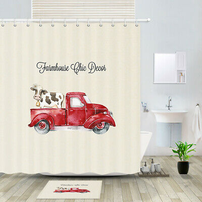 red truck and farm cow shower curtain bathroom decor fabric 12hooks