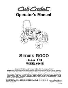 Cub Cadet SERIES 5000 5252 Operators Instruction