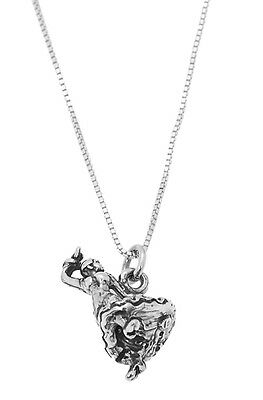STERLING SILVER SPANISH FANCY FLAMENCO DANCER CHARM WITH