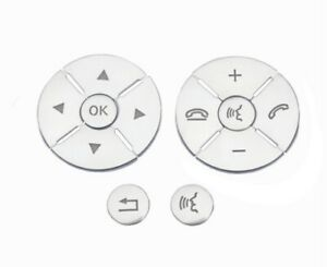 Interior Steering Wheel Button Cover Pearl Silver For 09