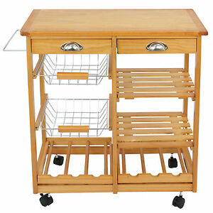 kitchen cart with drawers flooring trends used rolling wood island trolley storage stand image is loading