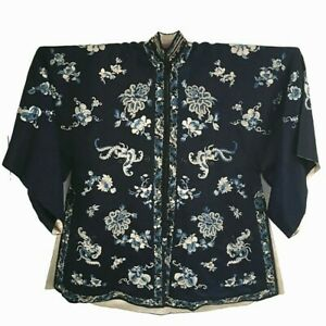 Antique Qing Chinese Silk Forbidden Knot Stitch Embroidered Robe Floral Moth Bat