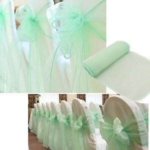 diy organza chair covers christmas b&m 100pcs mint green wedding cover sashes bows image is loading