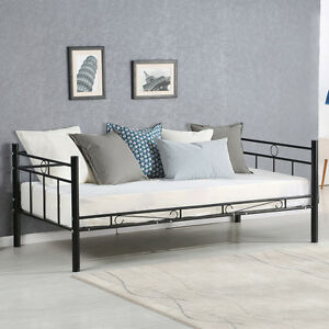 steel frame sofa how to fix small hole in leather twin size daybed bed metal solid support guest dorm home image is loading