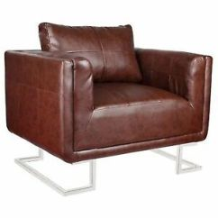 Leather Chrome Chair Chairs That Pull Out Into Beds Contemporary Cube Club Accent Armchair Real Stock Photo