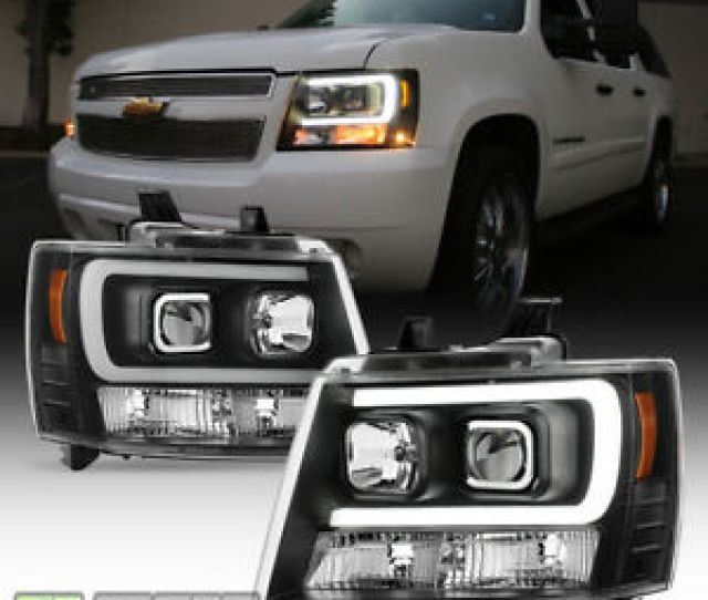 Blk 2007 2014 Chevy Suburban Tahoe Avalanche Optic Drl Led Projector Headlights Ebay