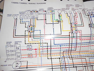 yamaha oem factory color wiring diagram schematic 1986 yx600s yx600 s sc   ebay