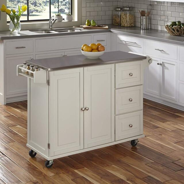 white kitchen island cart hansgrohe faucet parts stainless steel top rolling utility wood cabinet rack