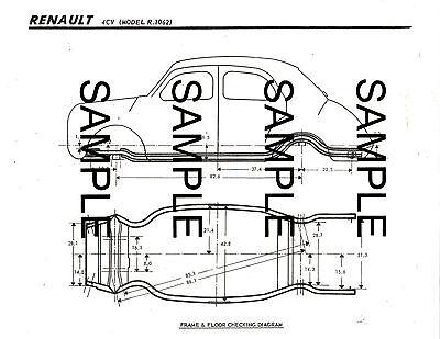 RENAULT 4CV MODEL R.1062 FRAME DIMENSION DIAGRAM CHART