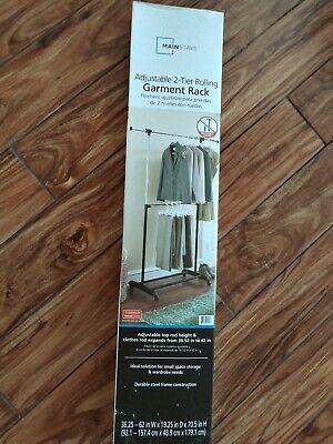 2 tier rolling garment rack adjustable dual rod clothes hanger storage organizer ebay