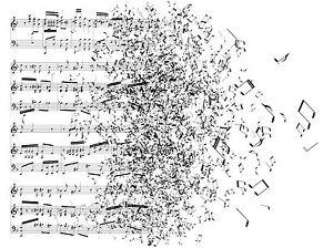 ART PRINT POSTER MUSIC DRAWING SHEET MUSIC BLOWING AWAY