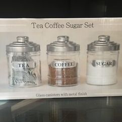 Canisters Kitchen Commercial Equipment Dallas Set Of 3 Glass Tea Coffee Sugar Jars Storage Image Is Loading