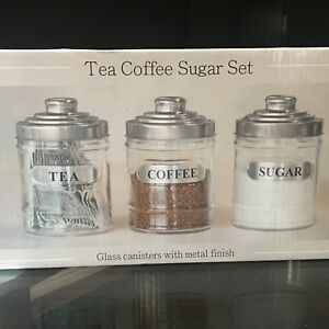 canisters kitchen space saving tables set of 3 glass tea coffee sugar jars storage image is loading