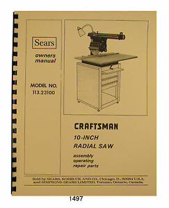 Sears Craftsman Radial Arm Saw Parts