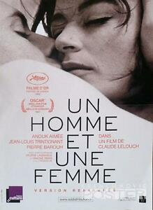 Un Homme Et Une Femme : homme, femme, HOMME, FEMME, WOMAN, LELOUCH, REISSUE, SMALL, MOVIE, POSTER