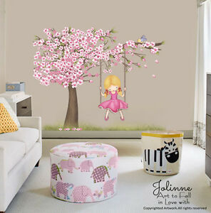 cherry blossom tree wall decal kids room big vinyl sticker baby