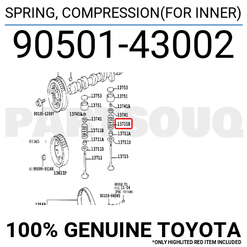 9050143002 Genuine Toyota SPRING, COMPRESSION(FOR INNER