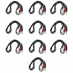 10x 3.5mm Male to Male Stereo Mini Plug TO 2 RCA Stereo