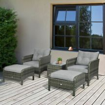 outsunny 5pcs outdoor patio furniture