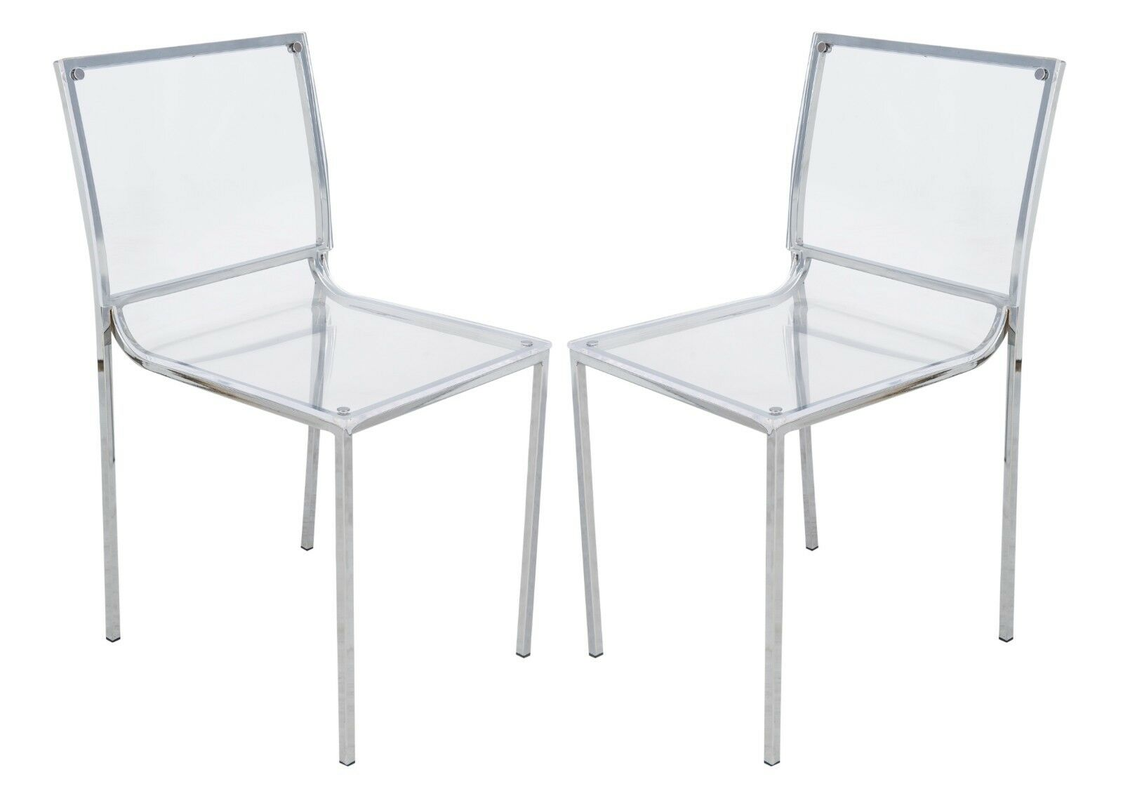 Lucite Chair Leisuremod Almeda Lucite Acrylic Clear Dining Side Chair W Chrome Legs Set Of 2