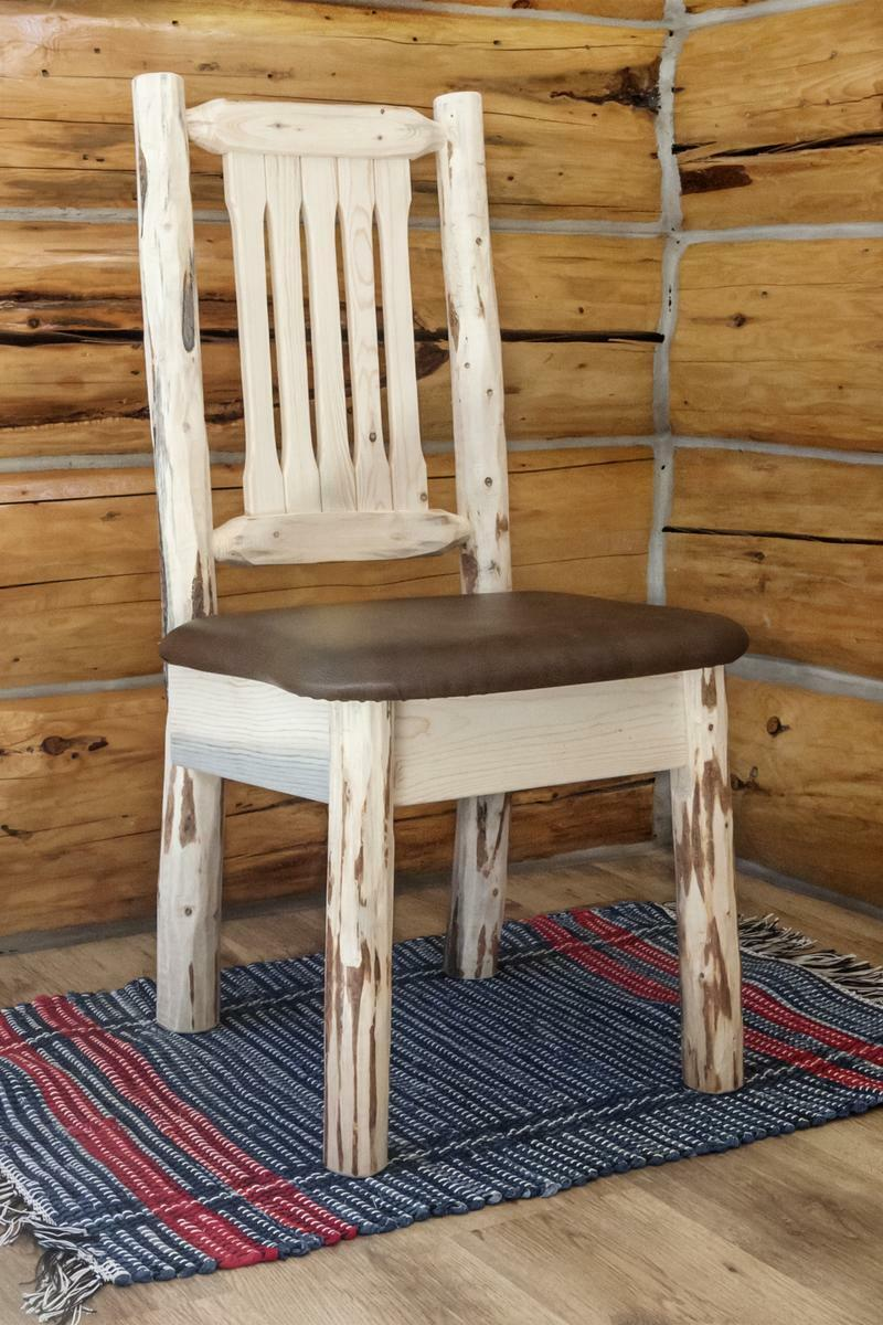 Western Chairs Amish Log Dining Chairs Rustic Wooden Chair Upholstered Padded