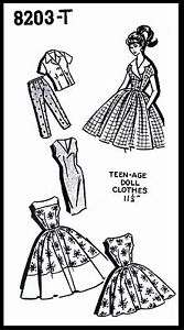 BARBIE TEEN Fashion Doll Fabric Sewing Pattern DRESS TOP