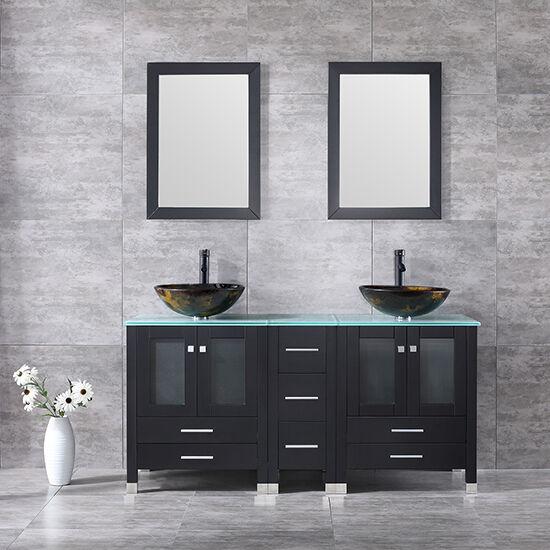 Black 60 6 Bathroom Vanity Cabinets Solid Wood W Vessel Sink Glass Top Mirror For Sale Online