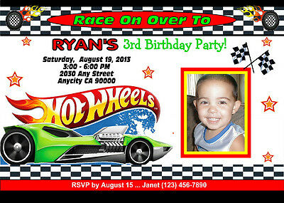 hot wheels racing custom printable birthday party invitation free ty card