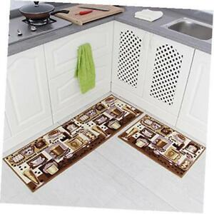 kitchen rug set decorating 2pcs non slip mat rubber backing doormat runner coffee brown