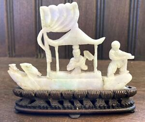 Antique Chinese Jadeite Boat Figure Carved Wooden Stand