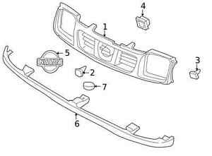 Genuine Nissan 1998-2000 Frontier Grille Clip 62318-2S400