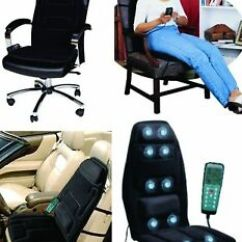 Back Massage Chair Mid Century Upholstery Fabric Portable Massager Mat Car Seat Image Is Loading