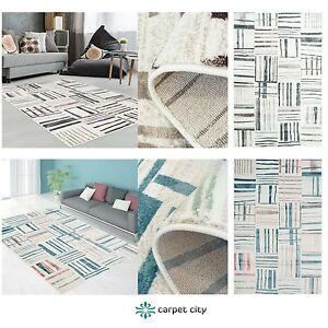 Teppich Modern Designer Wohnzimmer Inspiration Just Karo Pastell Blau Beige NEU  eBay