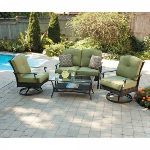 details about 4 seater steel conversation set outdoor patio table swivel chairs sofa cushions