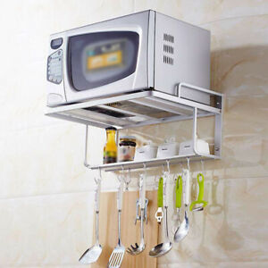 details about hanging microwave oven stand storage rack shelf space saving kitchen bracket new