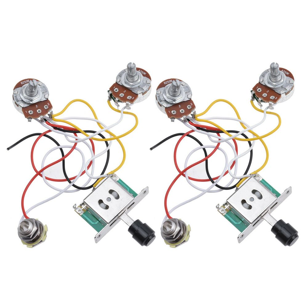 medium resolution of 2 pcs guitar prewired wiring harness for fender tele parts 3 way 250k pots jack