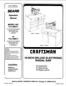 c.1985 Craftsman 113.198411 & 113.198611 10