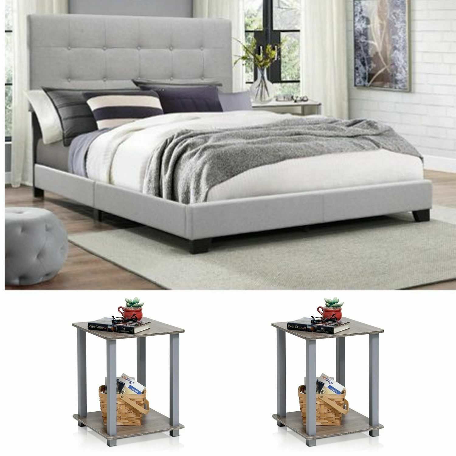 king size bedroom set grey modern furniture bed headboard wood fabric 3 piece