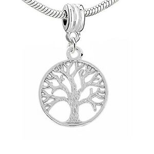 Family Tree Dangle Charm Beads for Snake Chain Charm