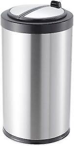 kitchen trash bin light oak cabinets can 13 gallon stainless steel garbage motion sensor touchless