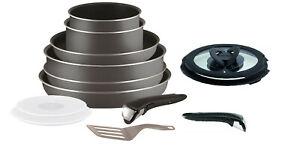 details sur tefal ingenio minute 13 piece casserole pots et poele set gris non induction